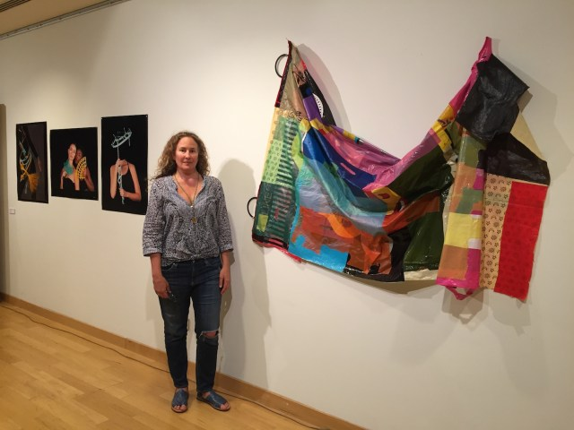 Dianna with 'Post-Consumer Mandala' and Dyan Ferren's photos