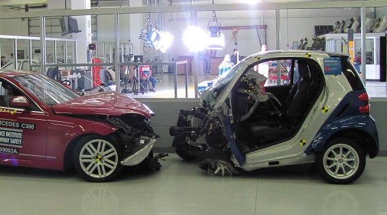 Smart Fortwo crashing into a Mercedes-Benz
