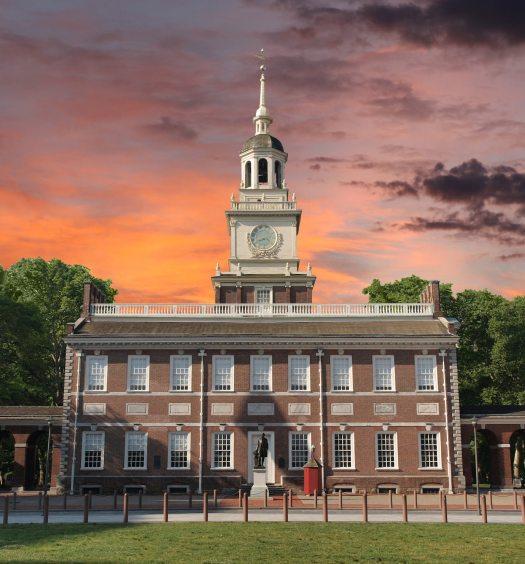 Independence Hall National Historic Park Philadelphia Pennsylvania with sunset sky.