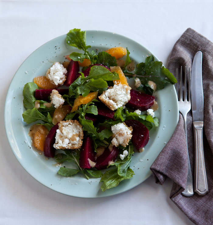 beetroot and orange salad with sesame coated goats cheese and honey
