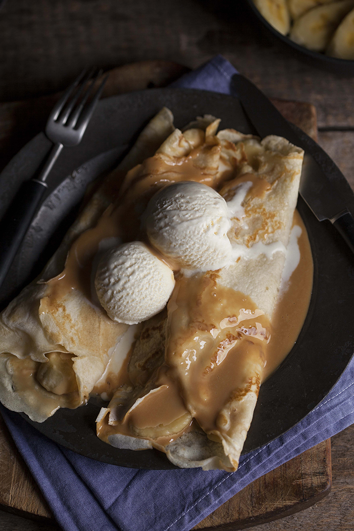 crepe pancakes filled with caramel and bananas