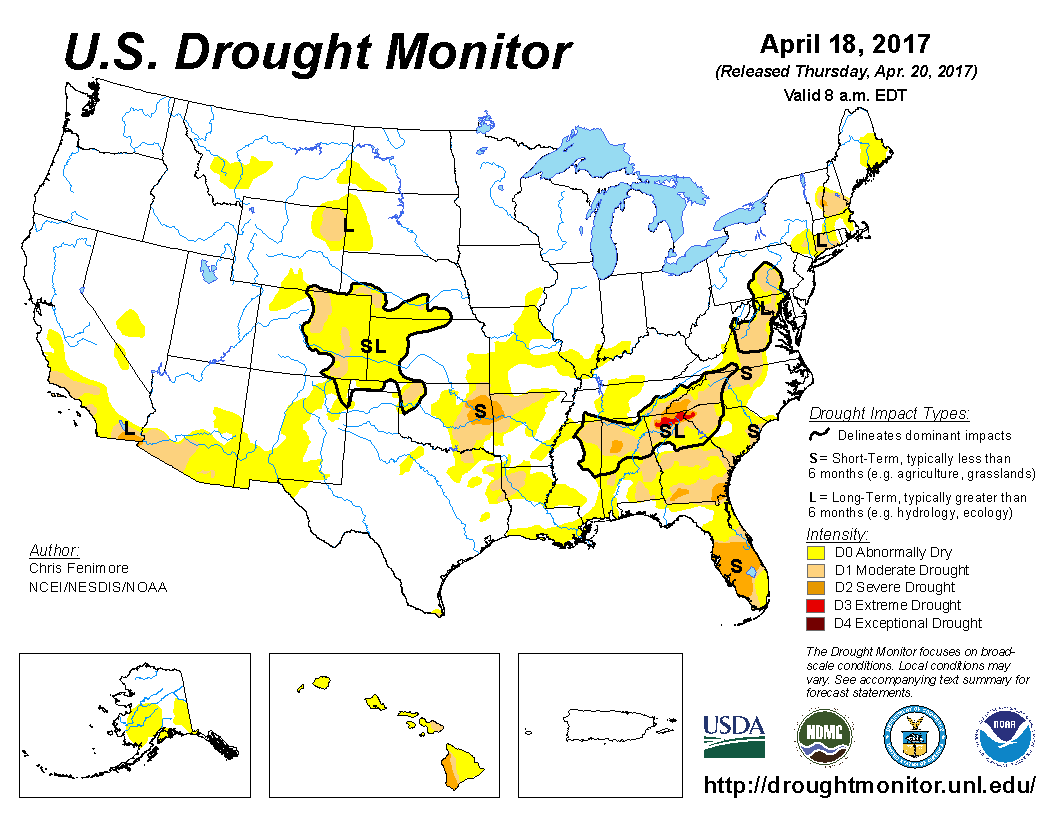 Drought Monitor Wet Week For Southern Plains Midwest Dry For - Us droup map california chage