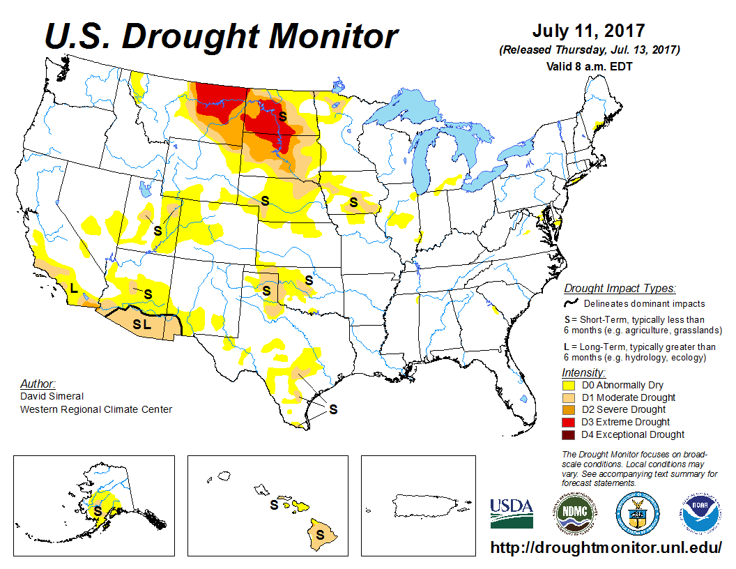 Drought Monitor Dry Hot Conditions Continue Across Western US