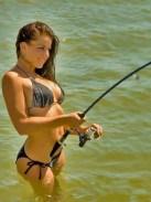 Bending into a fish in bikini
