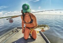 Fishing girl in bikini