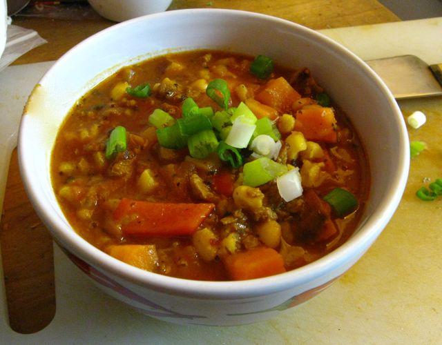 Hominy sweet potato chili with soy chorizo