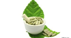 herbal medicine capsule in in the mortar, alternative medicine