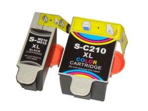 SET 2 DRUCKERPATRONEN TINTENPATRONEN DRUCKERPATRONE TINTENPATRONE kompatibel zu SAMSUNG INK-M210, INK-M215 black, INK-C210 Colour, 3-Farbig