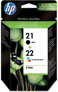 HP 21 Original Tintenpatrone 2er Pack, schwarz/cyan/magenta/gelb