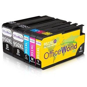 OfficeWorld 950XL 951XL 1Set+1Schwarz Kompatibel Tintenpatronen zu HP Officejet Pro 8600 8610 8100 8620 8630 8640 8660 8615 8625 8100 251dw 271dw Drucker mit Neuen Chips (2-Schwarz, 1-Cyan, 1-Magenta, 1-Gelbe)