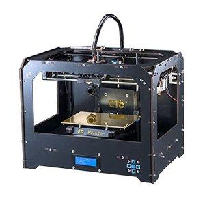 Schwarz 3D Drucker, Dual-Extruder Desktop Rapid Prototyping 3D-Drucker 3D Printer Inklusive 1x 1,75 mm 1 kg /2,2lb ABS Filament