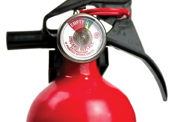 Fire extinguisher with guage as main focus