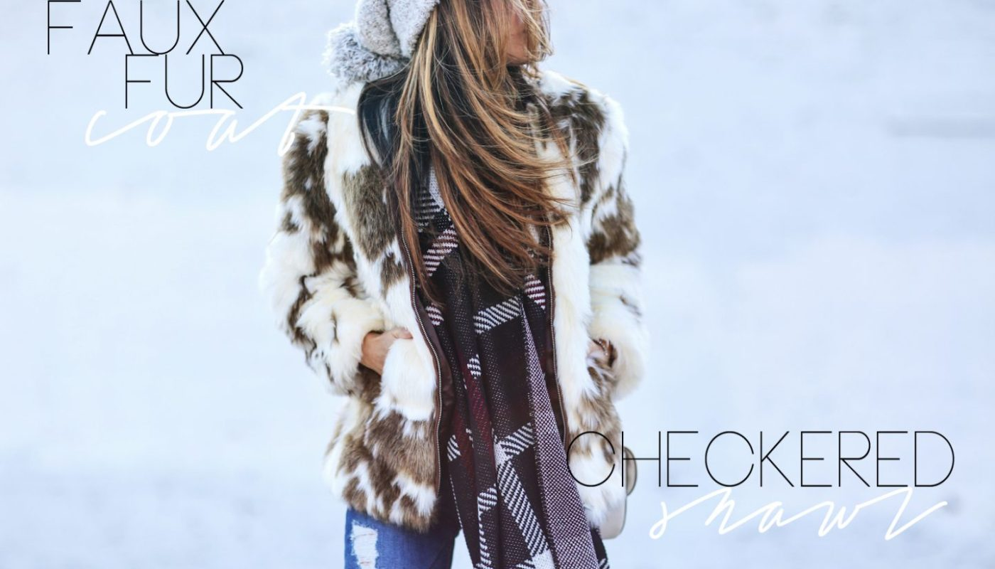 FAUX FUR COAT AND CHECKERED SHAWL