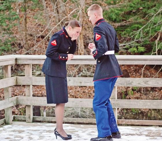 surprise proposal (in uniform)!