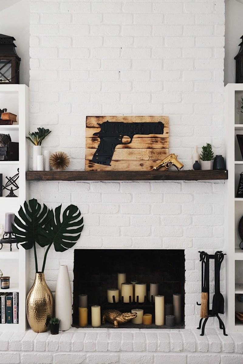 Large Of White Brick Fireplace