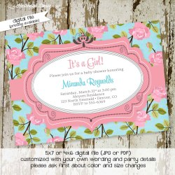 Especial Floral Baby Shower Invitation Sprinkle By Katiedid Designs On Zibbet Baby Girl Shower Invitations Online Baby Girl Shower Invitations Wording