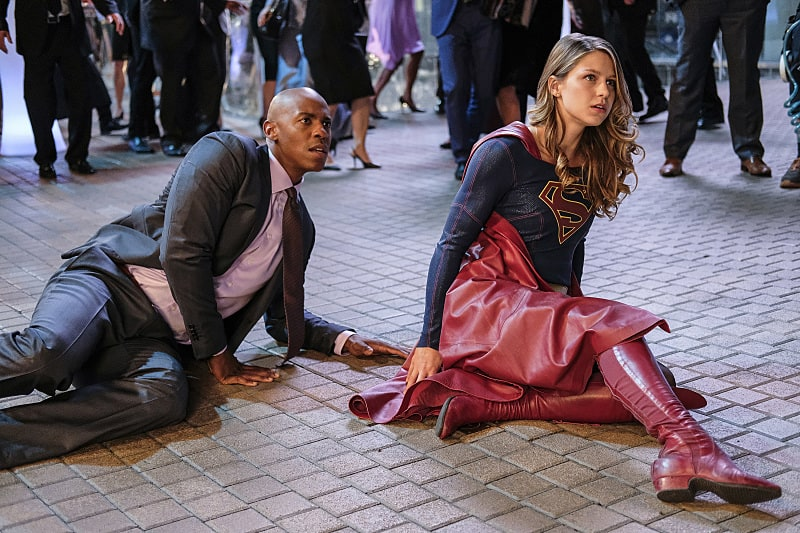 "Supergirl -- ""Crossfire"" -- Image SPG205a_0147 -- Pictured (L-R): Mehcad Brooks as James Olsen and Melissa Benoist as Kara/Supergirl -- Photo: Robert Falconer /The CW -- © 2016 The CW Network, LLC. All Rights Reserved"