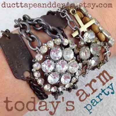 Arm party with lots of vintage rhinestones and dog tags | DuctTapeAndDenim.com