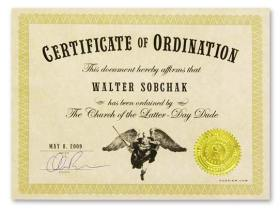Ordination Certificate