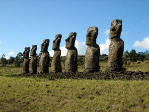 The famous Moai of Easter Island