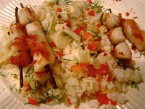 Scallops with Roasted Fennel Lemon Rice