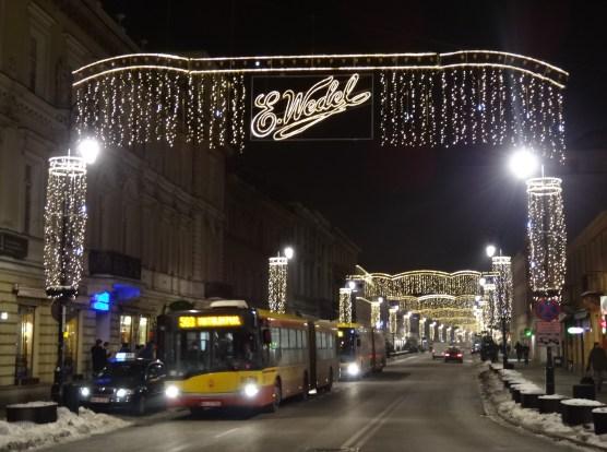Warszawa Boże Narodzenie 2012  iluminacja Warszawy Wedel Nowy Świat