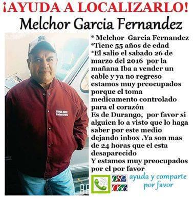 Desaparecido Melchor García Fernández