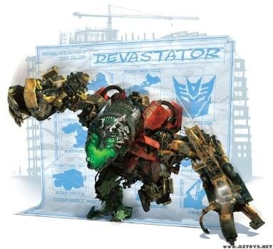Devastator el decepticon de mayor tamaño. Optimus Prime apenas le llega por la rodilla. Imagen de dvdplay.wordpress.com.