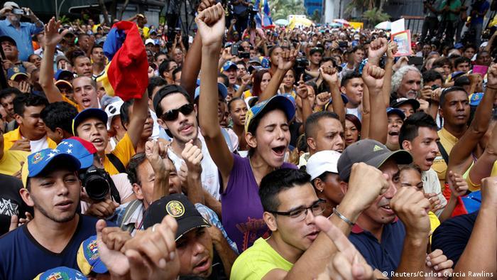 Manifestación en contra del Gobierno de Maduro en Caracas.
