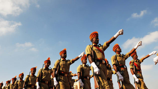 Delhi isn't the only parade host. These soldiers march in Bangalore on January 26, 2011.