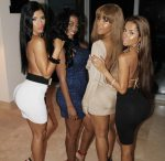Rosa Acosta, Suelyn, Shakur, and Tammy Torres at Blackmen Party in Miami - courtesy of the305.com