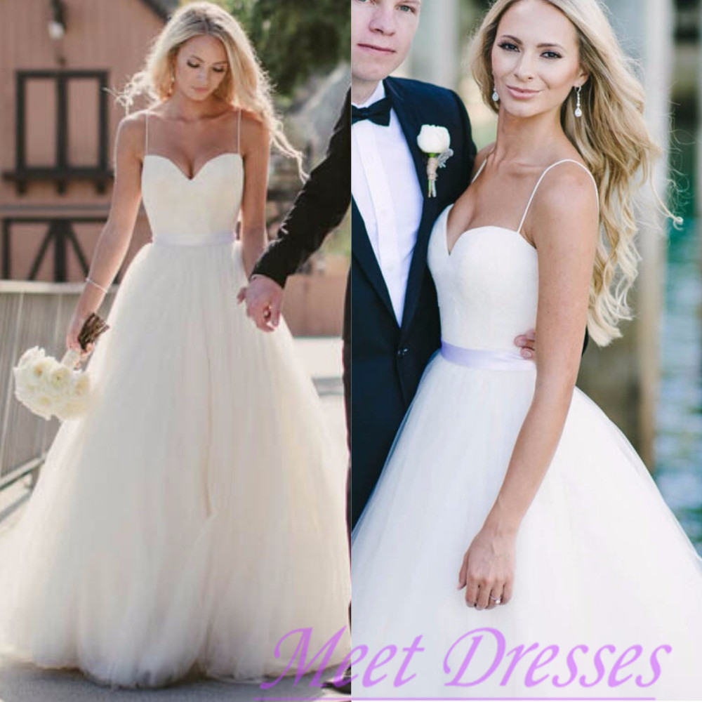 beautiful wedding dress affordable a line with spaghetti straps flowy white flowy wedding dresses Ww 2 small