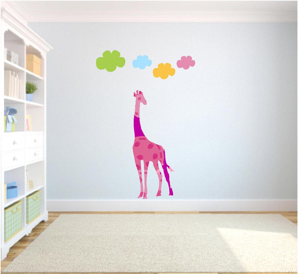 Fabulous Giraffe Wall Nursery Wall Tall Pink Colorful Giraffe Wall Nursery Wall Tall Pink Colorful Nursery Wall Decals Australia Nursery Wall Decals Elephant baby Nursery Wall Decals