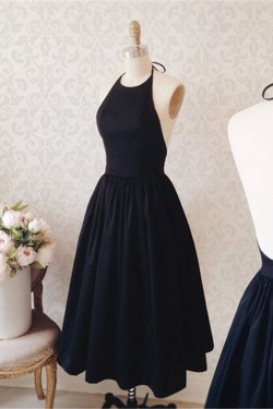 Encouraging Black Satin Backless Tea Length Prom Party Dress Black Satin Backless Tea Length Prom Party Dress Black Dress Wow Black Dress Pattern On Wow