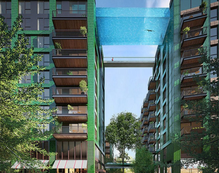 Glass bottomed sky pool at Nine Elms in London - 01