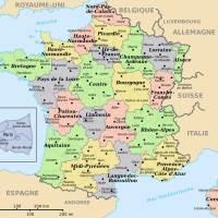Carte de France départements villes et régions
