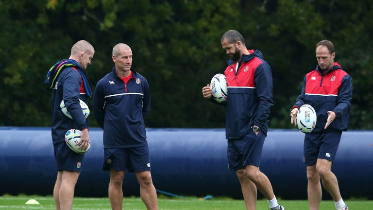 Stuart Lancaster (second left) with England coaches Graham Rowntree, Andy Farrell and Mike Catt