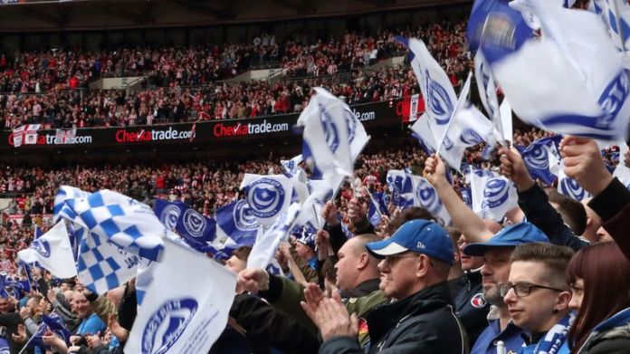 LONDON, ENGLAND - MARCH 31: Portsmouth fans during the Checkatrade Trophy Final between Sunderland AFC and Portsmouth FC at Wembley Stadium on March 31, 2019 in London, England. (Photo by James Williamson - AMA/Getty Images)