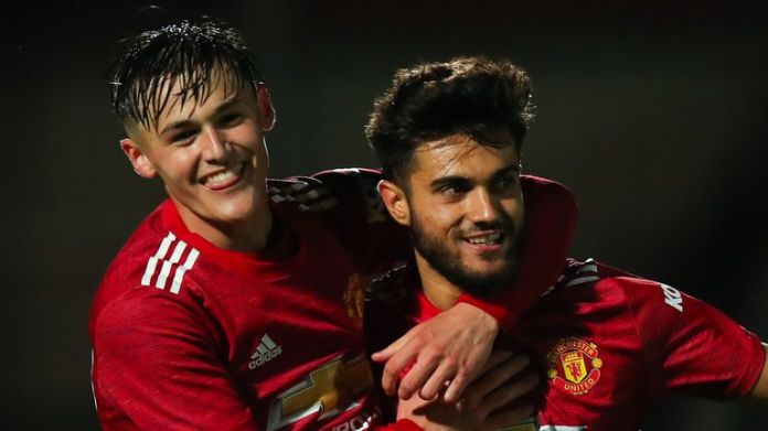 Arnau Pugimal (right) netted the second goal for Manchester United U21s