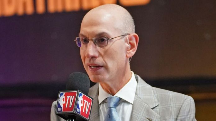 Adam Silver is interviewed during the NBA Finals