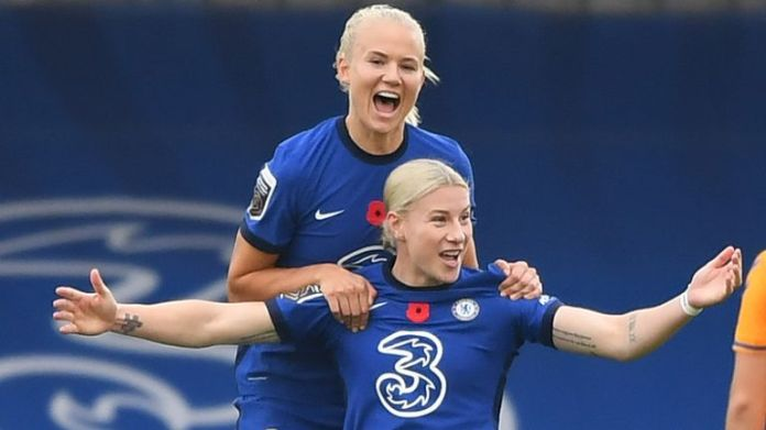 Bethany England scored twice for Chelsea with Pernille Harder also on the scoresheet