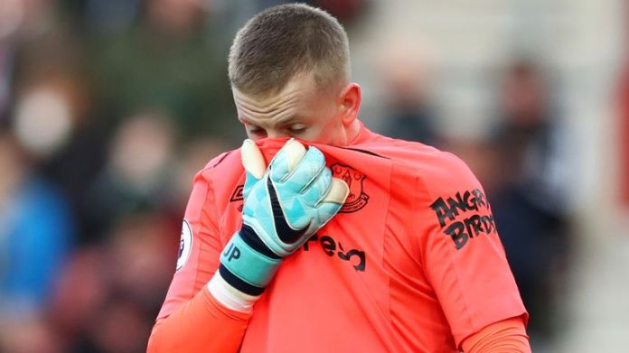 Everton goalkeeper Jordan Pickford is on the substitutes bench to face Newcastle United