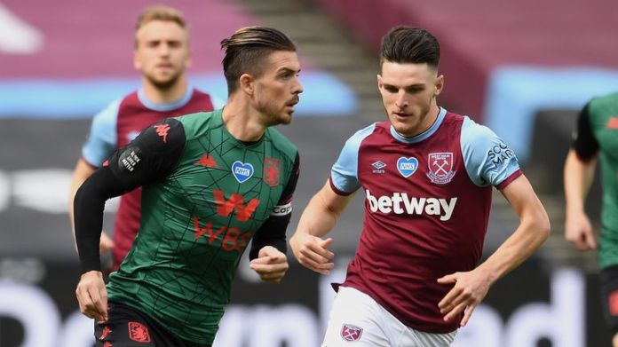 Jack Grealish (left) represented Rep Ireland at U21 level, Declan Rice (right) at senior level
