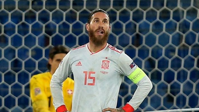 Sergio Ramos of Spain looks dejected after the UEFA Nations League group stage match between Switzerland and Spain at St. Jakob-Park on November 14, 2020 in Basel, Switzerland.