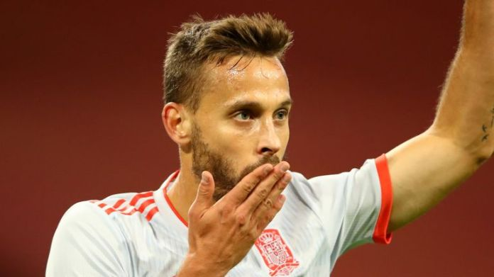 Sergio Canales scores his first international goal for Spain