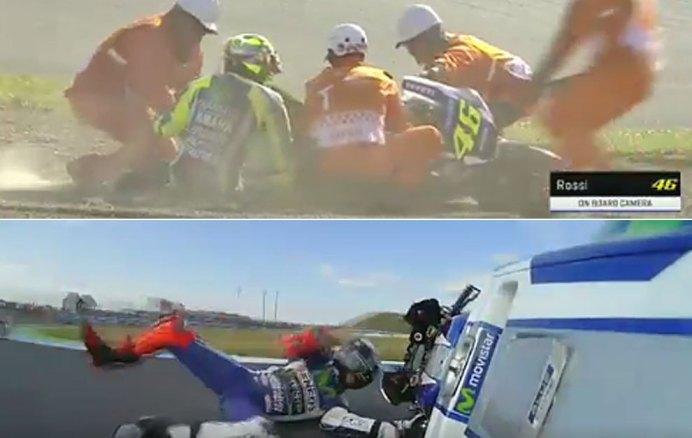 Rossi y Lorenzo se fueron al suelo