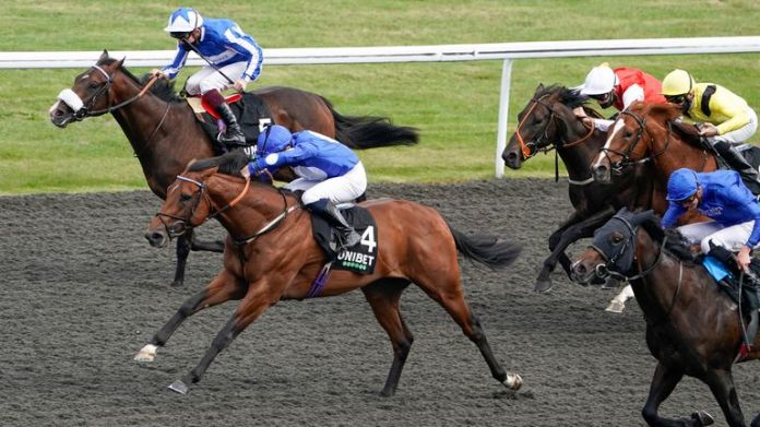 Mighty Gurkha (C, blue/ white spots) wins at Kempton this season