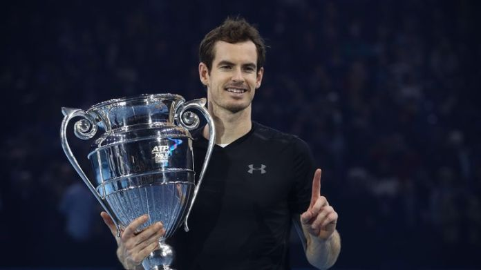Murray celebrating winning the ATP Finals at the O2 Arena back in November 2016