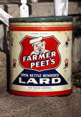 Farmer Peet's Lard tin, mid-1960's