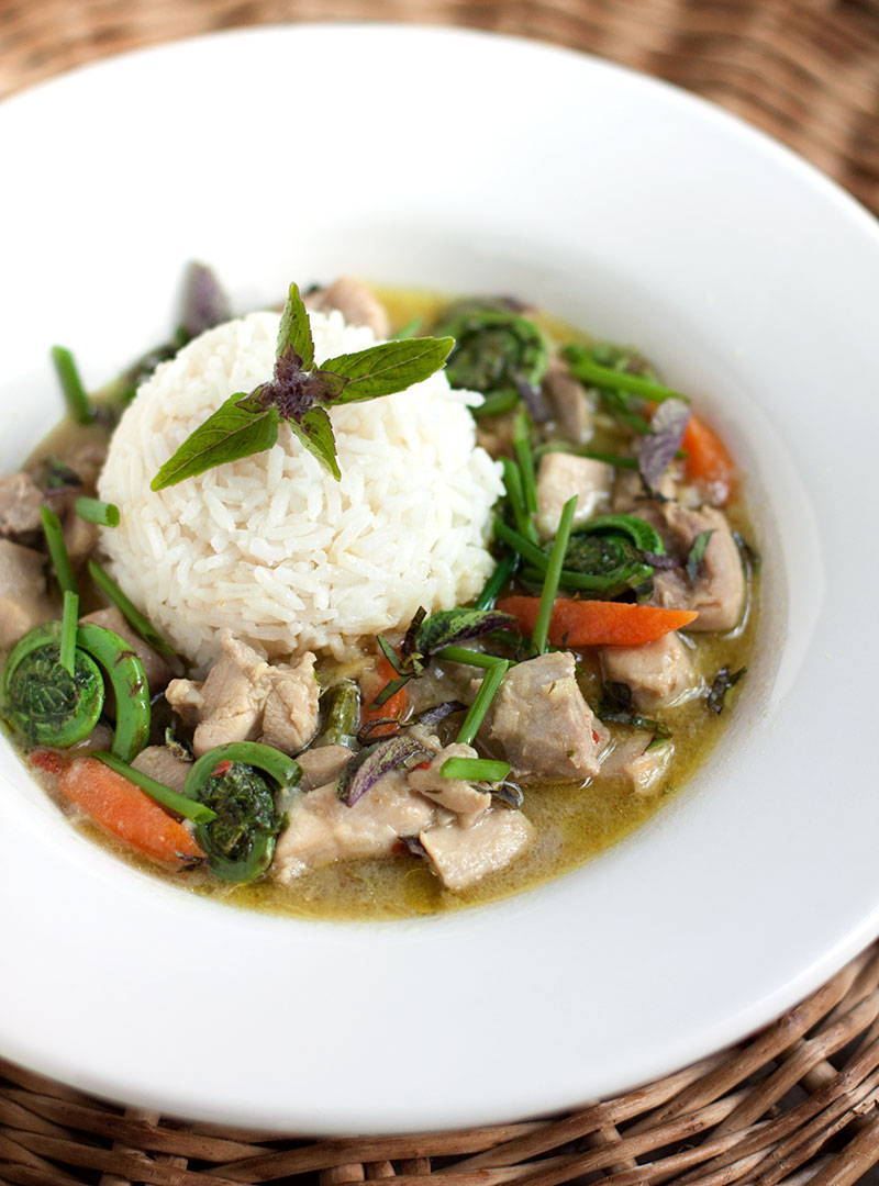 Thai Green Curry with Chicken and Fiddleheads